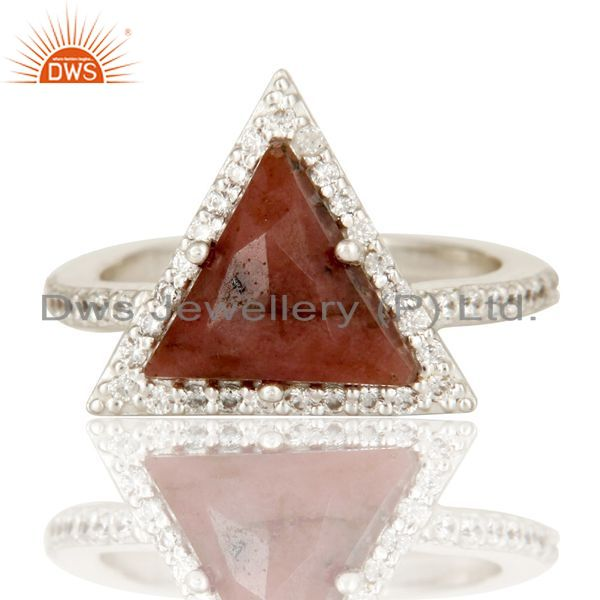 Exporter Solid 925 Sterling Silver Checkered Rhodonite & White Zirconia Statement Ring