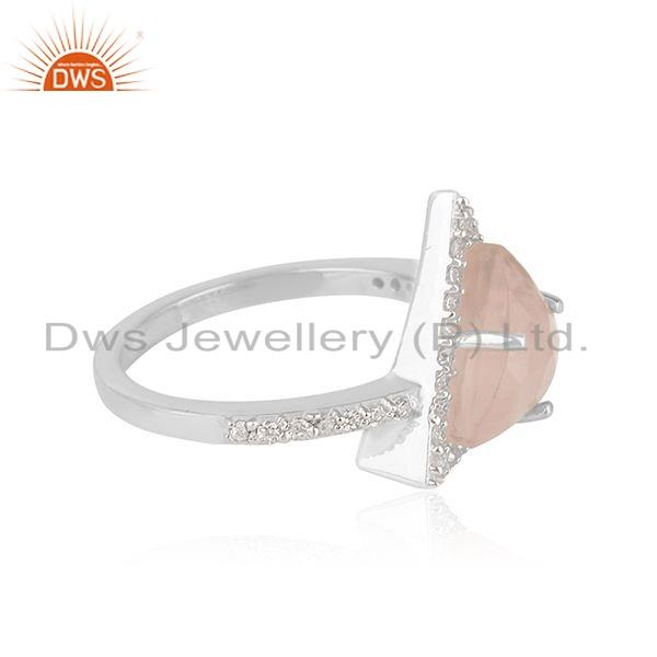 Exporter CZ Rose Quartz Gemstone Triangle Shape Sterling Silver Ring Jewelry