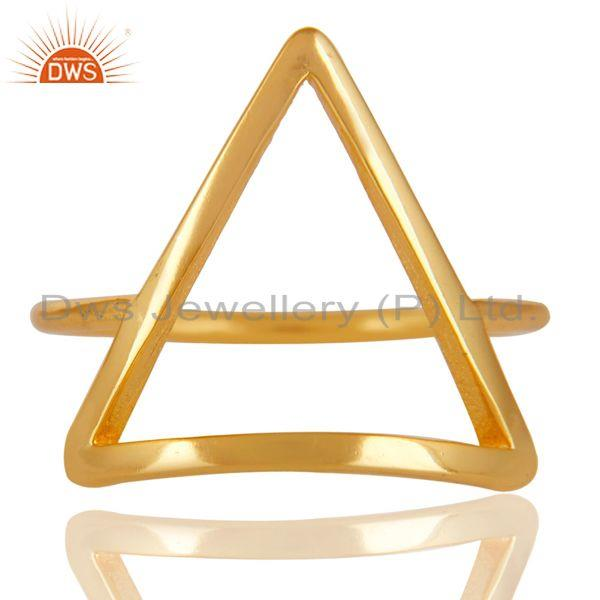 Exporter 14K Gold Plated Sterling Silver Handmade Art Trillion Design Stackable Ring