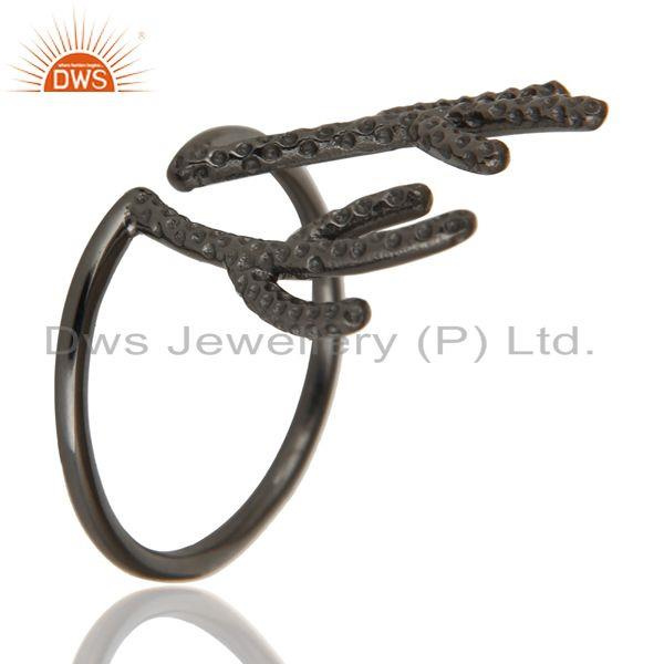 Exporter Black Oxidized 925 Sterling Silver Handmade Tree Design Knuckle Ring