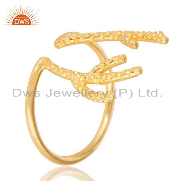 Exporter 14K Yellow Gold Plated 925 Sterling Silver Handmade Tree Design Knuckle Ring