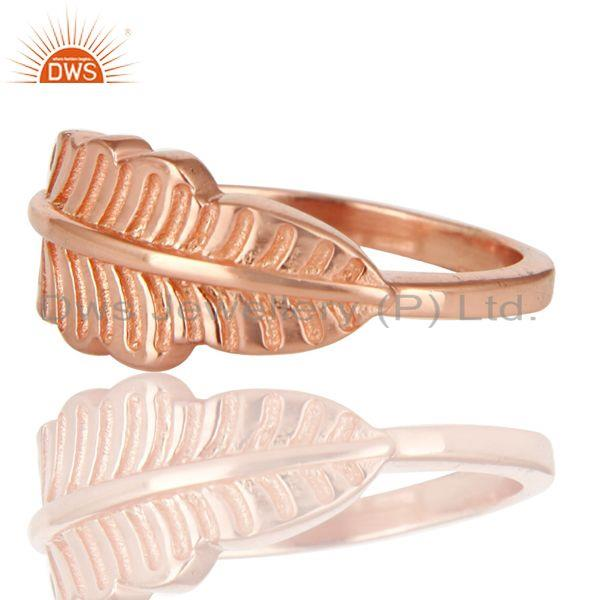 Exporter 14K Rose Plated 925 Sterling Silver Handmade Jointing Leaf Design Stackable Ring