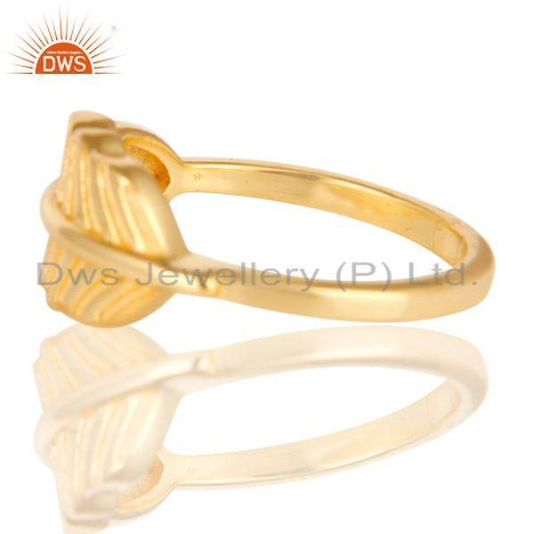 Exporter 14K Gold Plated 925 Sterling Silver Handmade Jointing Leaf Design Stackable Ring