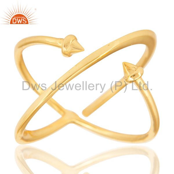 Exporter 14K Yellow Gold Plated Sterling Silver Handmade Pyramid Design Stackable Ring