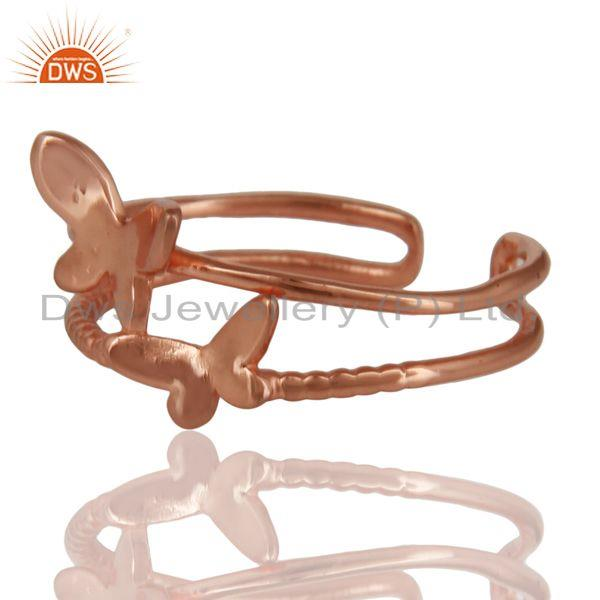 Exporter 14K Rose Gold Plated Sterling Silver Handmade Butterfly Design Stackable Ring