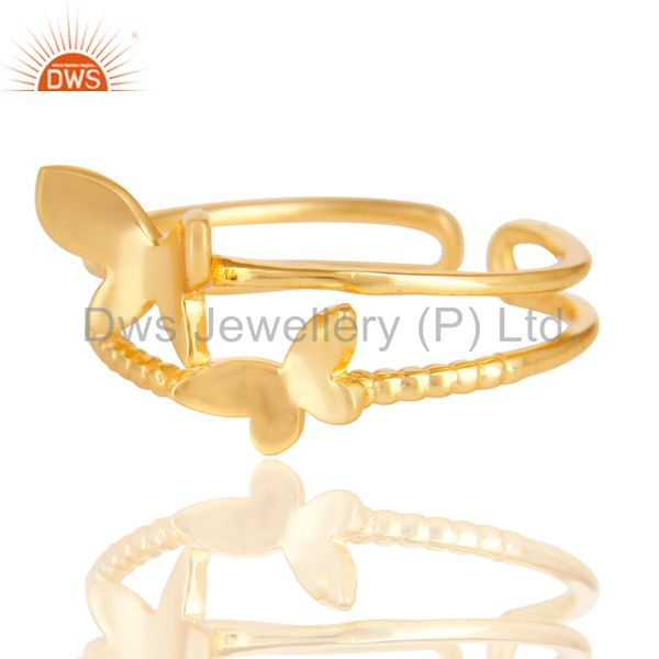 Exporter 14K Yellow Gold Plated Sterling Silver Handmade Butterfly Design Stackable Ring