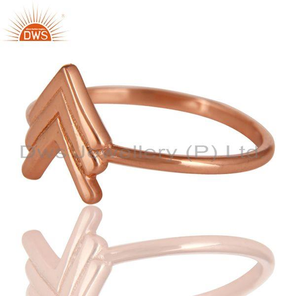 Exporter 14K Rose Gold Plated Sterling Silver Handmade Art Arrow Design Stackable Ring