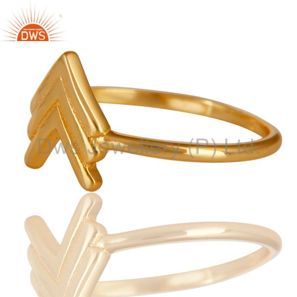 Exporter 14K Gold Plated 925 Sterling Silver Handmade Art Arrow Design Stackable Ring
