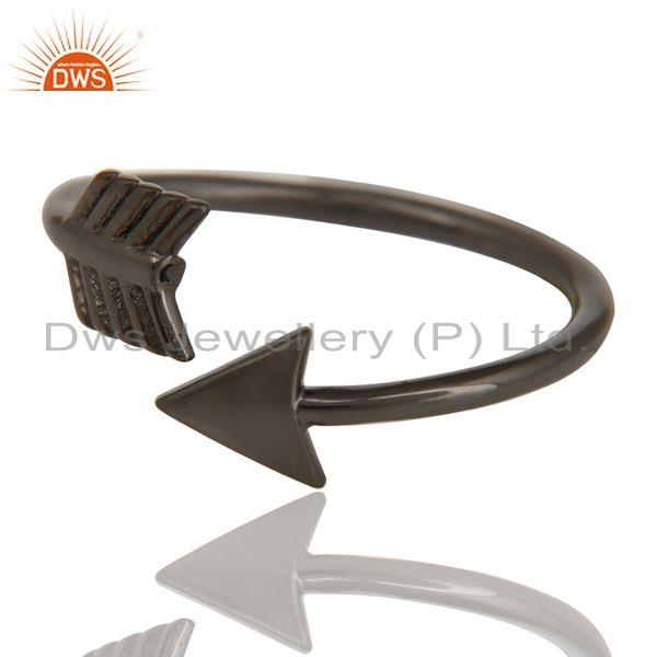 Exporter Black Oxidized 925 Sterling Silver Handmade New Fashion Design Stackable Ring