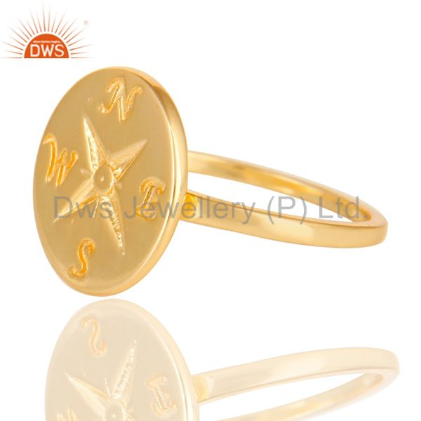 Exporter 14K Yellow Gold Plated Sterling Silver Handmade Astrology Design Cocktail Ring