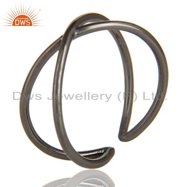 Exporter Black Oxidized 925 Sterling Silver Handmade Infinity Stylish Stackable Ring