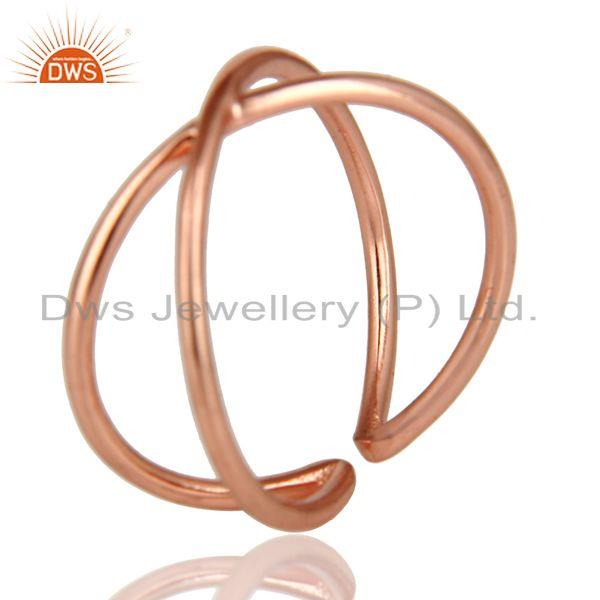 Exporter 14K Rose Gold Plated Sterling Silver Handmade Infinity Stylish Stackable Ring