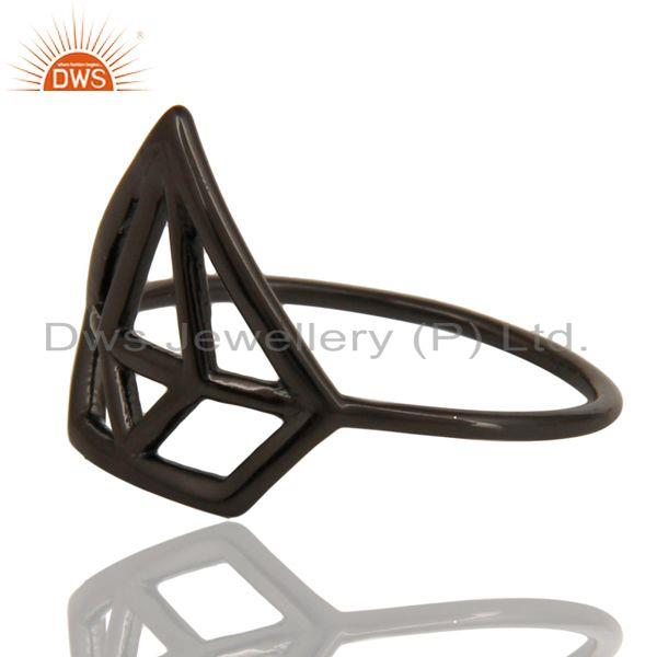 Exporter Black Oxidized 925 Sterling Silver Handmade Without Stone Style Stackable Ring