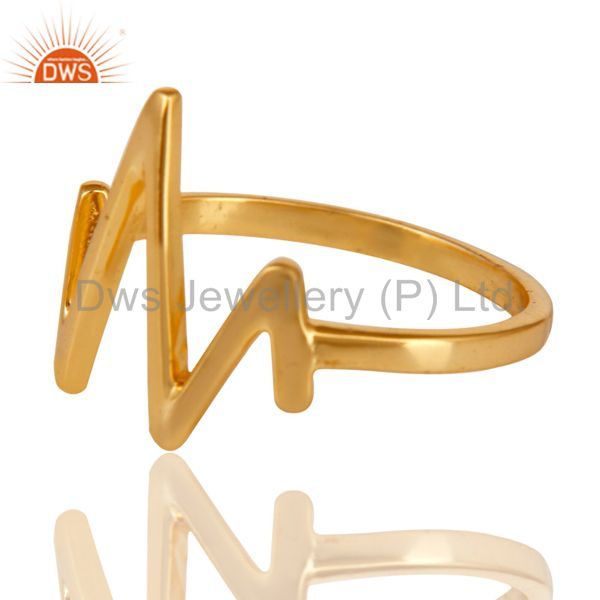 Exporter 14K Yellow Gold Plated Sterling Silver Handmade Zig Zag Design Stackable Ring