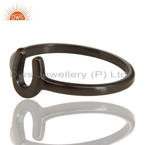 Exporter Black Oxidized 925 Sterling Silver Handmade Alphabatic Design Stackable Ring