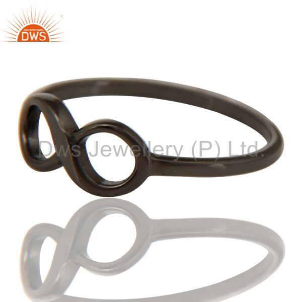 Exporter Black Oxidized 925 Sterling Silver Handmade Without Stone Infinity Toe Ring