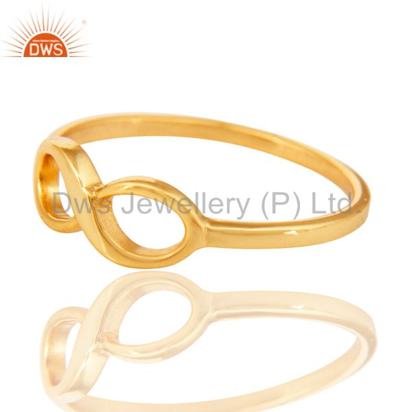 Exporter 14K Yellow Gold Plated Sterling Silver Handmade Without Stone Infinity Toe Ring