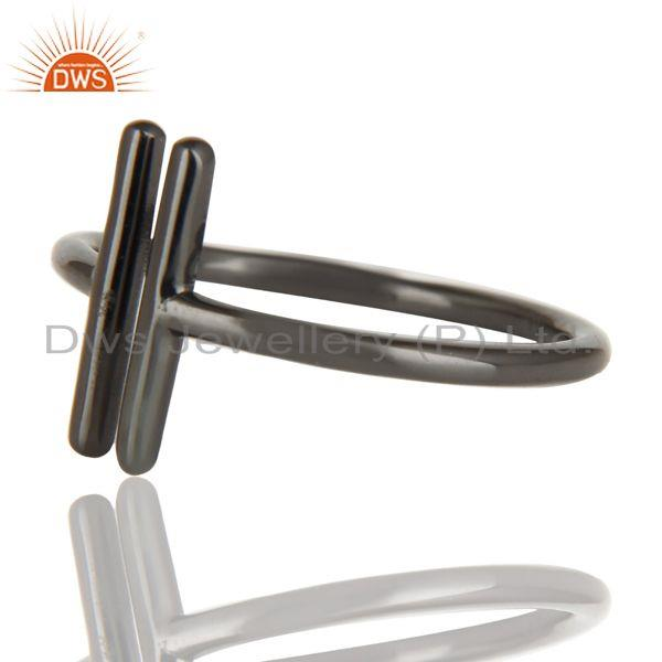 Exporter Black Oxidized 925 Sterling Silver Handmade Art Spacing Fashion Stackable Ring