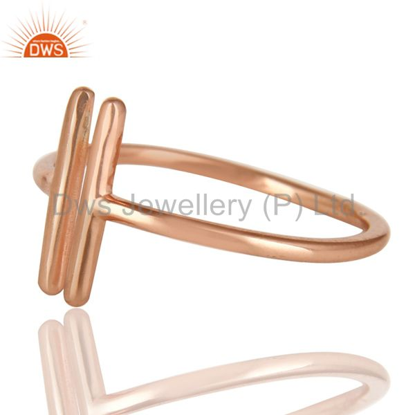 Exporter 14K Rose Gold Plated 925 Sterling Silver Handmade Art Spacing Fashion Ring