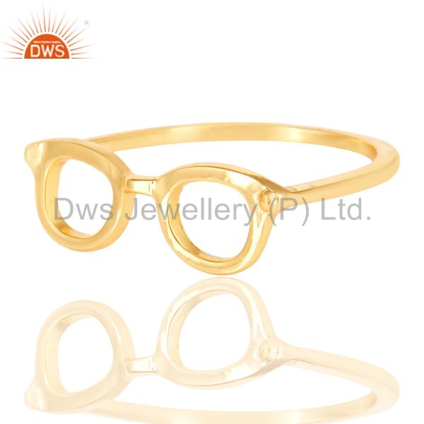 Exporter 14K Yellow Gold Plated Sterling Silver Handmade Art Goggle Design Stackable Ring