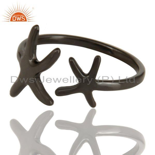 Exporter Black Oxidized 925 Sterling Silver Handmade Without Stone Fashion Ring