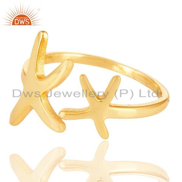 Exporter 14K Yellow Gold Plated 925 Sterling Silver Handmade Without Stone Fashion Ring
