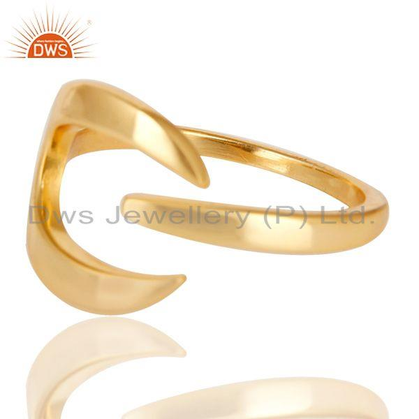 Exporter Beautiful Unique Design Ring With 14K Yellow Gold Plated 925 Sterling Silver