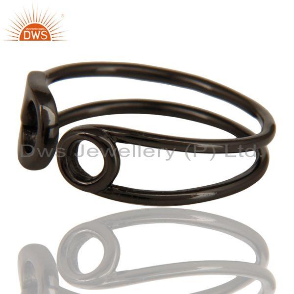 Exporter Black Oxidized 925 Sterling Silver Handmade Without Stone Stackable Ring Jewelry