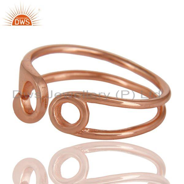 Exporter 14K Rose Gold Plated Sterling Silver Handmade Without Stone Stackable Ring