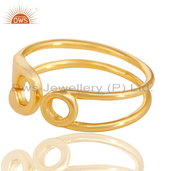 Exporter 14K Gold Plated 925 Sterling Silver Handmade Without Stone Stackable Ring