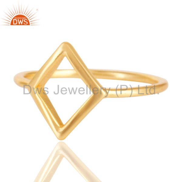 Exporter 14K Yellow Gold Plated Sterling Silver Handmade Art Without Stone Fashion Ring