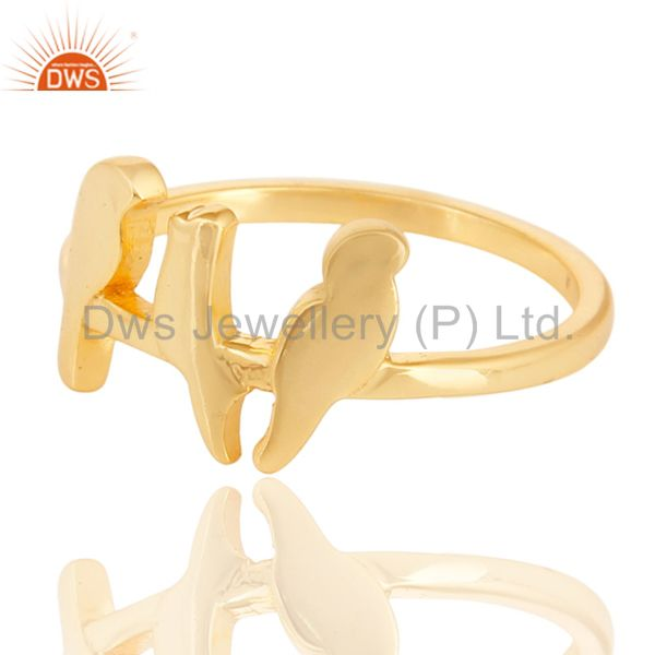 Exporter 14K Yellow Gold Plated 925 Sterling Silver Handmade Birds Design Stackable Ring