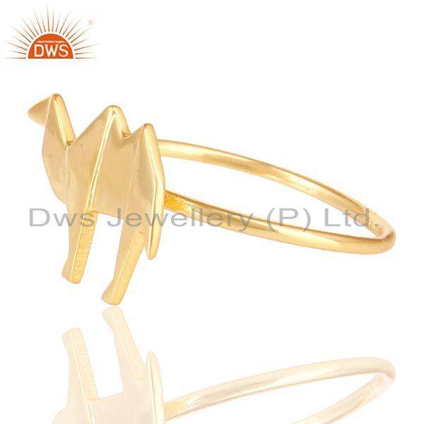 Exporter 14K Yellow Gold Plated 925 Sterling Silver Handmade Camel Design Stackable Ring