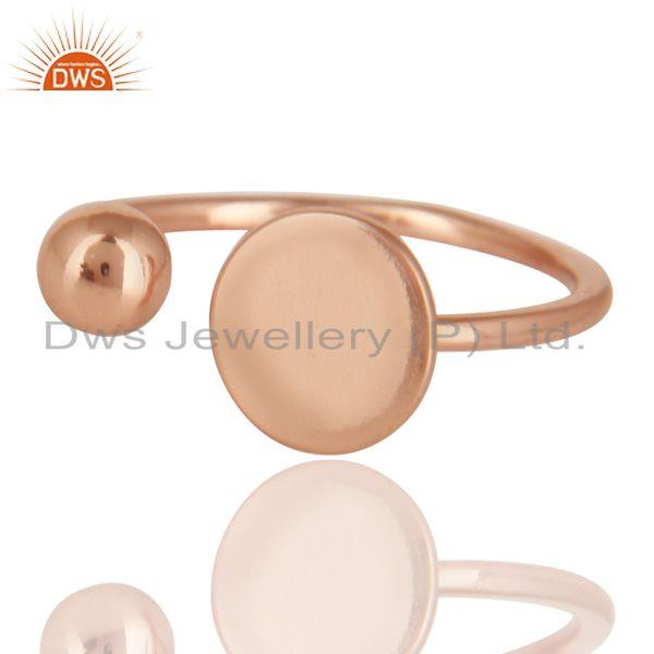 Exporter 14K Rose Gold Plated Sterling Silver Handmade Art Classic Style Stackable Ring