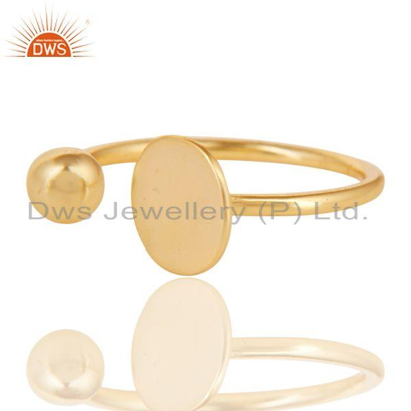 Exporter 14K Gold Plated 925 Sterling Silver Handmade Art Classic Style Stackable Ring