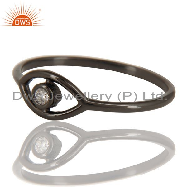 Exporter Black Oxidized 925 Sterling Silver Handmade White Zirconia Stackable Ring