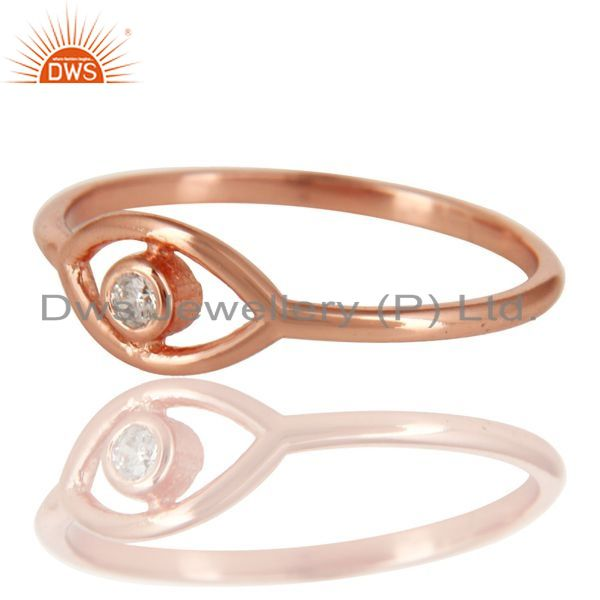 Exporter 14K Rose Gold Plated 925 Sterling Silver Handmade White Zirconia Stackable Ring