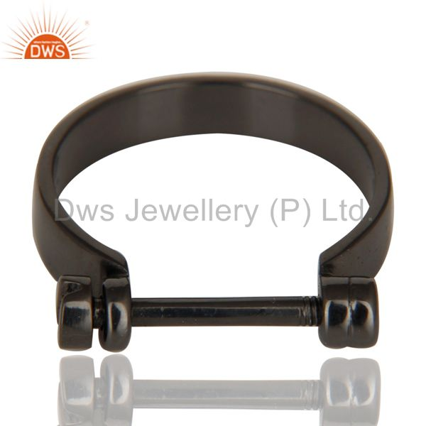 Exporter Black Oxidized 925 Sterling Silver Handmade Lock Style Openable Ring Jewelry