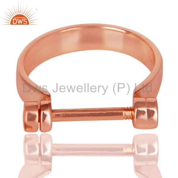 Exporter 14K Rose Gold Plated 925 Sterling Silver Handmade Lock Style Openable Ring
