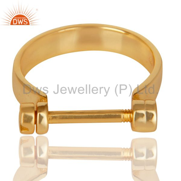 Exporter 14K Yellow Gold Plated 925 Sterling Silver Handmade Lock Style Openable Ring