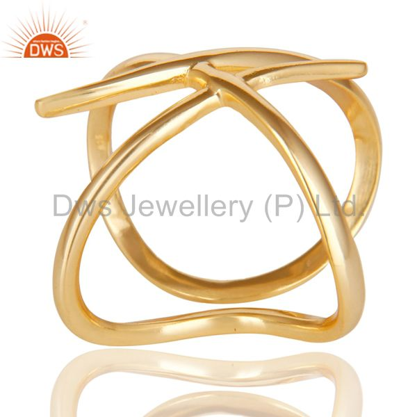 Exporter 14K Yellow Gold Plated 925 Sterling Silver Handmade Art Deco Stackable Ring
