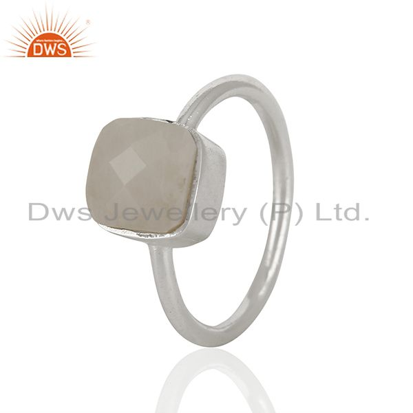 Exporter White Agate Gemstone 925 Solid Silver Stackable Rings Manufacturer