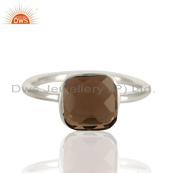 Exporter Smoky Quartz Gemstone 925 Sterling Silver Ring Jewelry Manufacturer