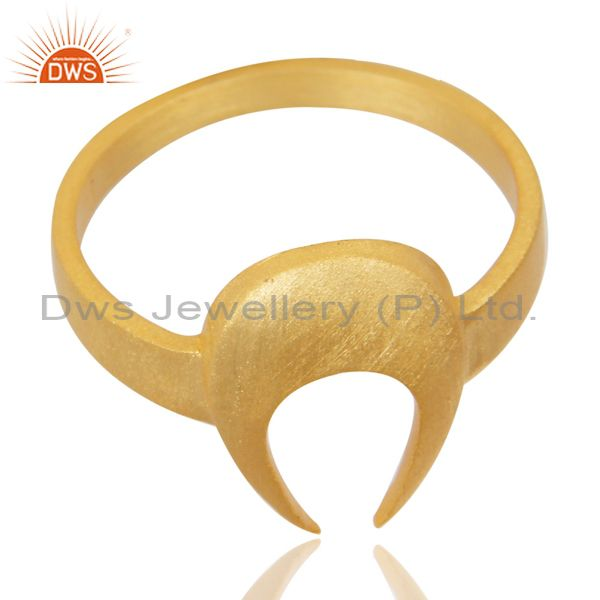 Exporter 14K Yellow Gold Plated 925 Sterling Silver Handmade Horse Shoe U Design Ring