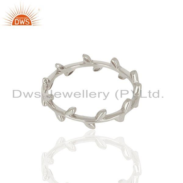 Exporter Olive Leaf Narrow 925 Sterling Silver White Rhodium Plated Band Ring Jewellery