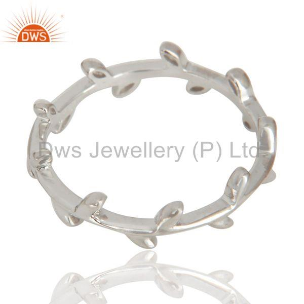 Suppliers Olive Leaf Narrow 925 Sterling Silver White Rhodium Plated Band Ring Jewellery