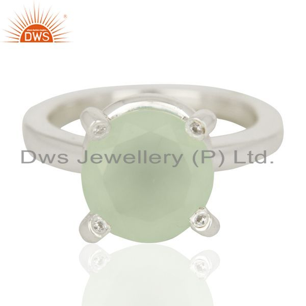 Exporter Aqua Chalcedony And CZ Stackable 925 Sterling Silver Ring Gemstone Jewelry