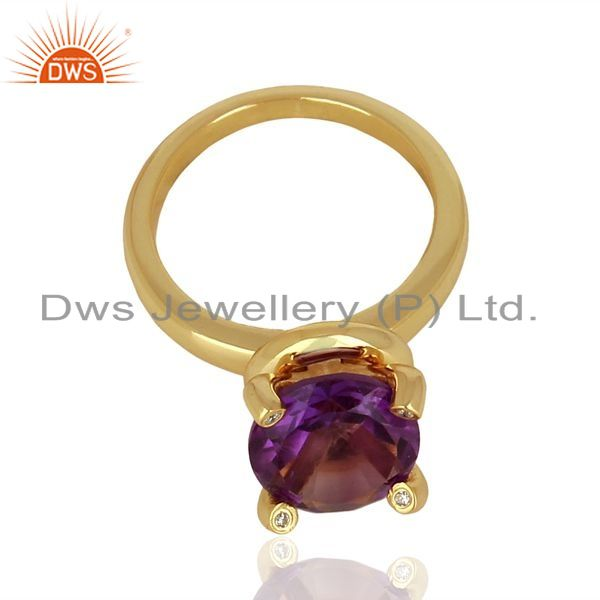 Exporter Amethyst And CZ Stackable 925 Sterling Silver Ring Gemstone Jewelry