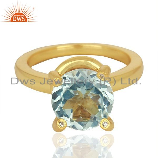 Exporter Blue Topaz And CZ Stackable 925 Sterling Silver Ring Gemstone Jewelry