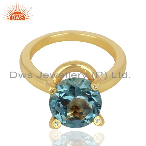 Exporter London Blue Topaz And CZ Stackable 925 Sterling Silver Ring Gemstone Jewelry